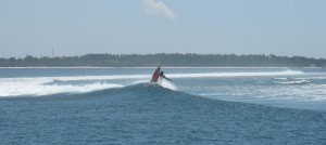 There's good surfing on the reefs around Gili Meno
